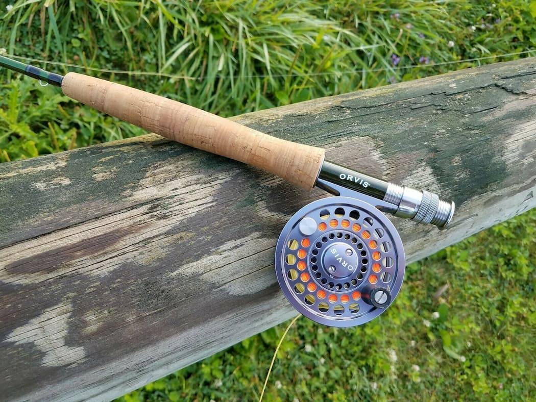 Orvis Clearwater rod and real on stump