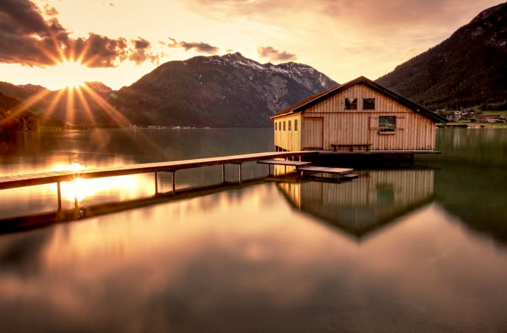 Boat house on a lake